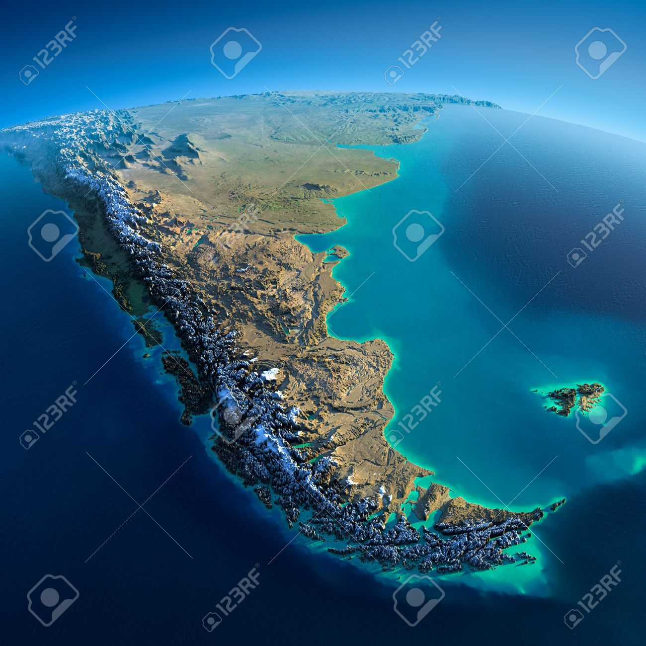 Highly detailed planet Earth in the morning Exaggerated precise relief lit morning sun Detailed Earth South America Tierra del Fuego - 26511015