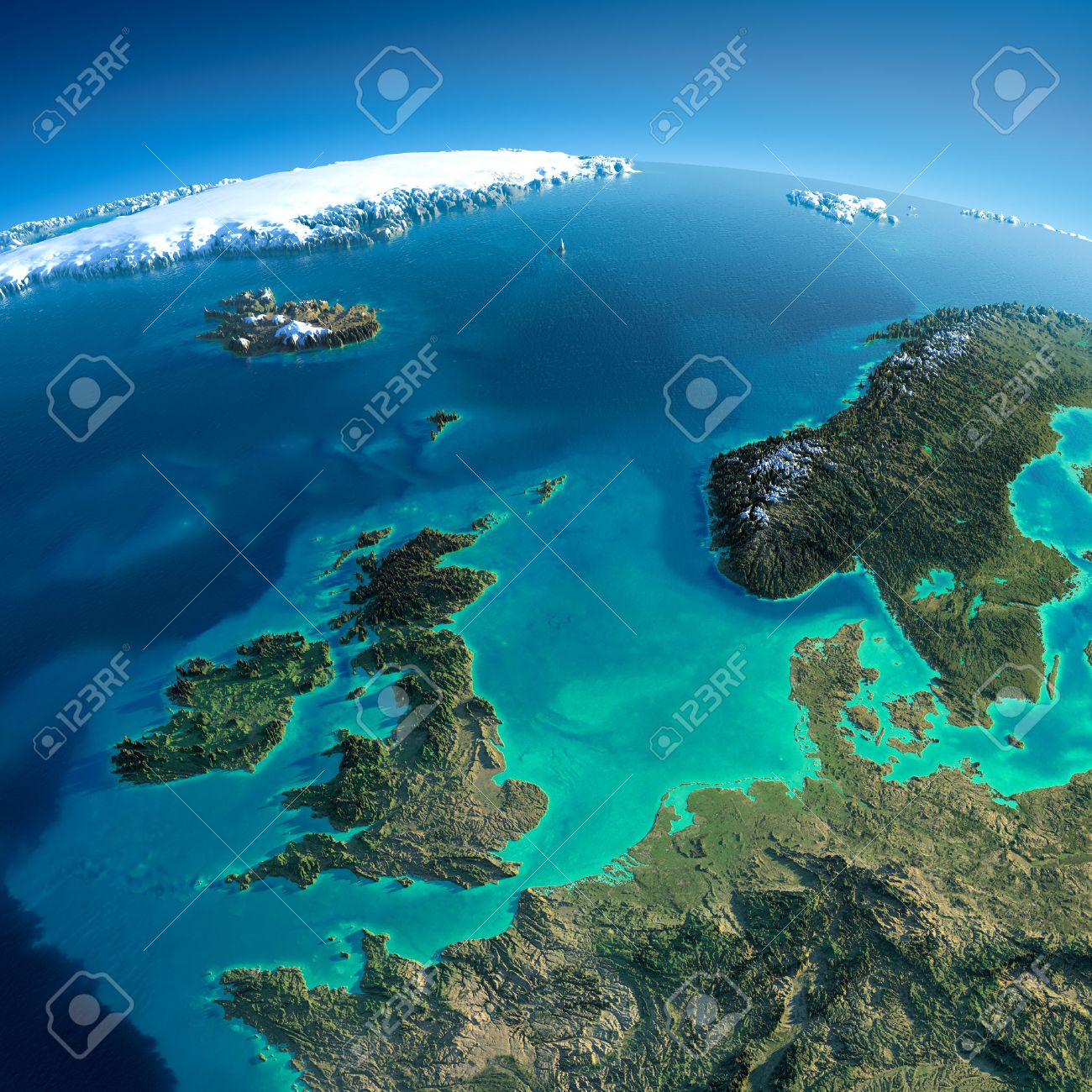 Highly detailed planet Earth in the morning Exaggerated precise relief lit morning sun Detailed Earth United Kingdom and the North Sea - 26594832