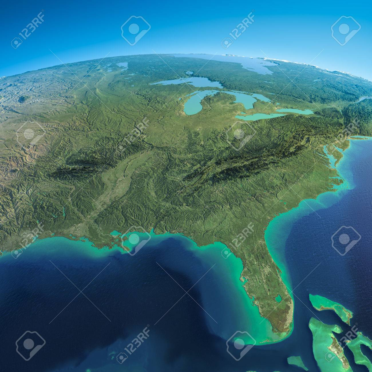 Highly detailed planet Earth in the morning Exaggerated precise relief lit morning sun Detailed Earth Gulf of Mexico and Florida - 26594834