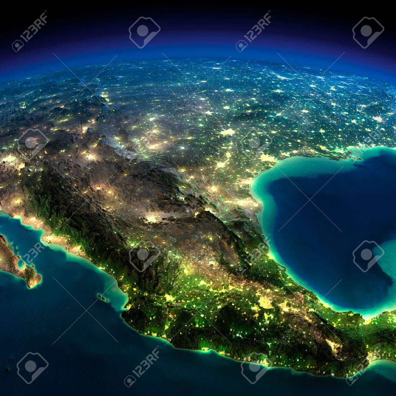 Highly detailed Earth, illuminated by moonlight The glow of cities sheds light on the detailed exaggerated terrain North America Mexico - 26504338