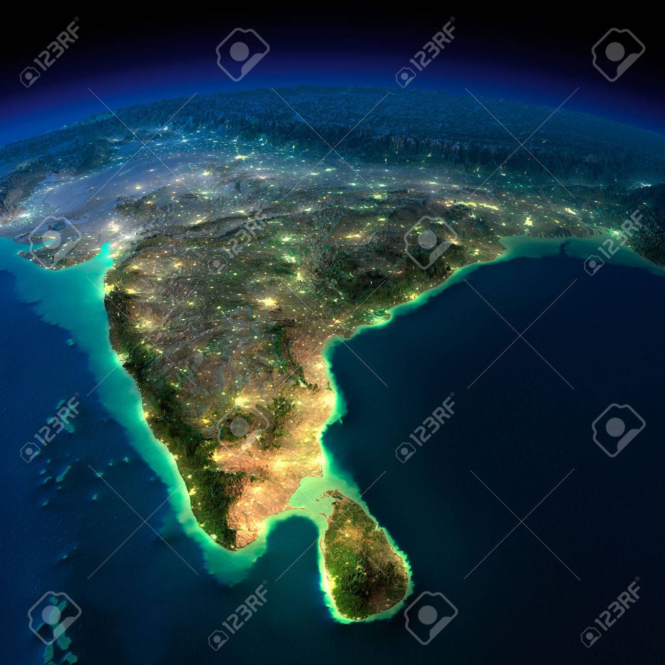 Highly detailed Earth, illuminated by moonlight. The glow of cities sheds light on the detailed exaggerated terrain. Night Earth. India and Sri Lanka. - 26504236