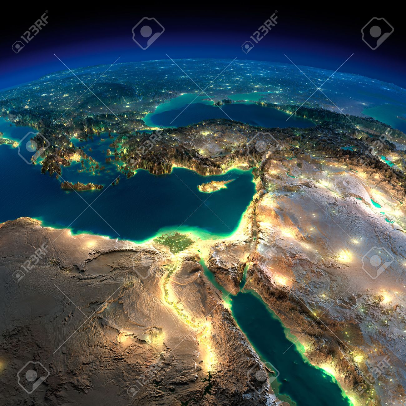 Highly detailed Earth, illuminated by moonlight. The glow of cities sheds light on the detailed exaggerated terrain. Night Earth. Africa and Middle East. - 26504260