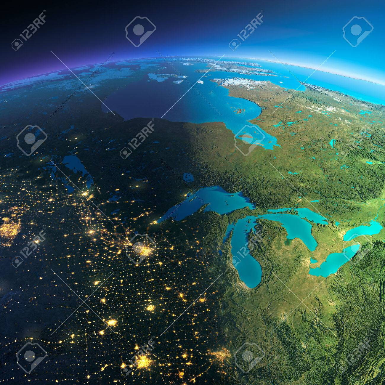 Highly detailed planet Earth. Night with glowing city lights gives way to day. The boundary of the night & day. The northern U.S. states and Canada. Elements of this image furnished by NASA - 39100891