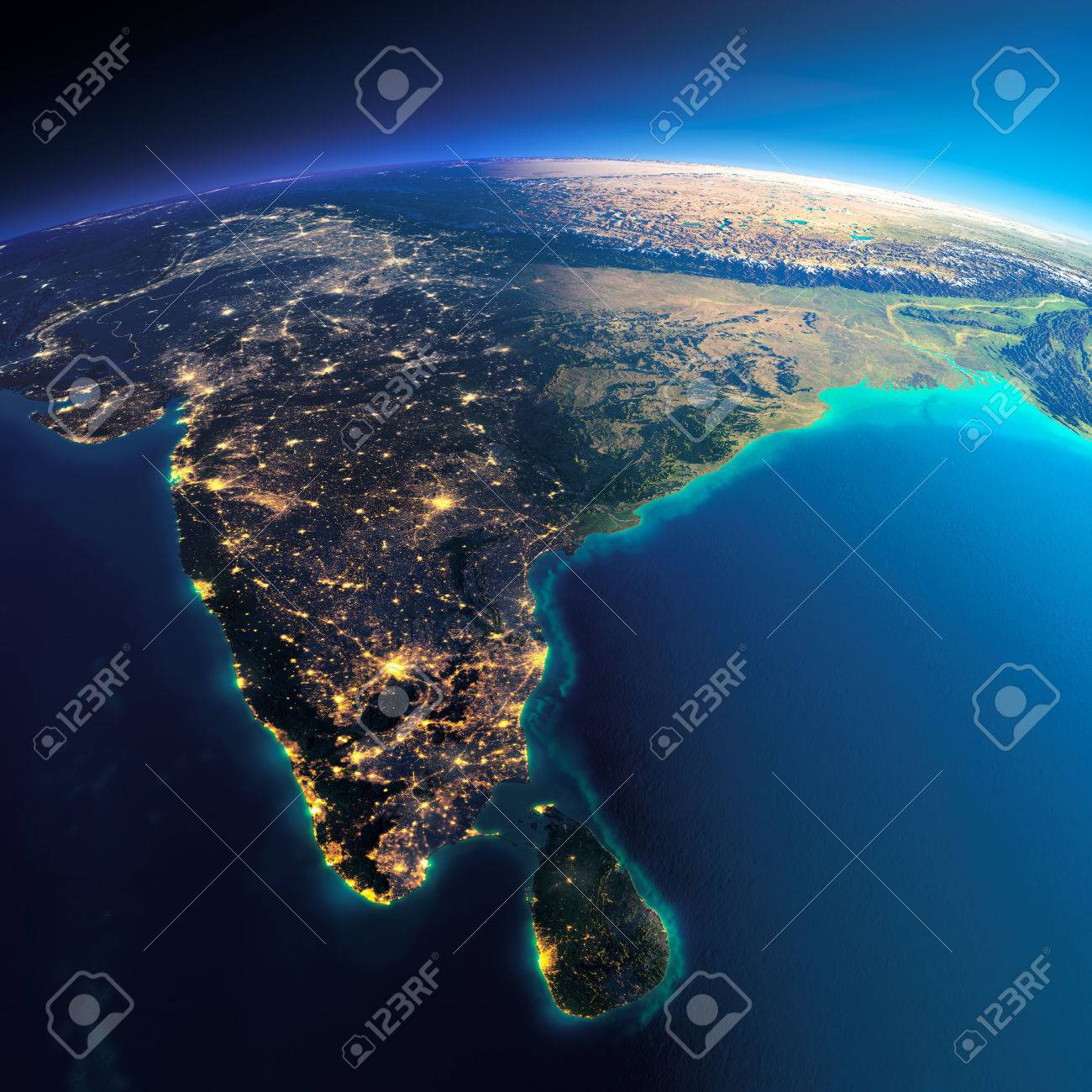 Highly detailed planet Earth. Night with glowing city lights gives way to day. The boundary of the night & day. India and Sri Lanka. Elements of this image furnished by NASA - 39100905