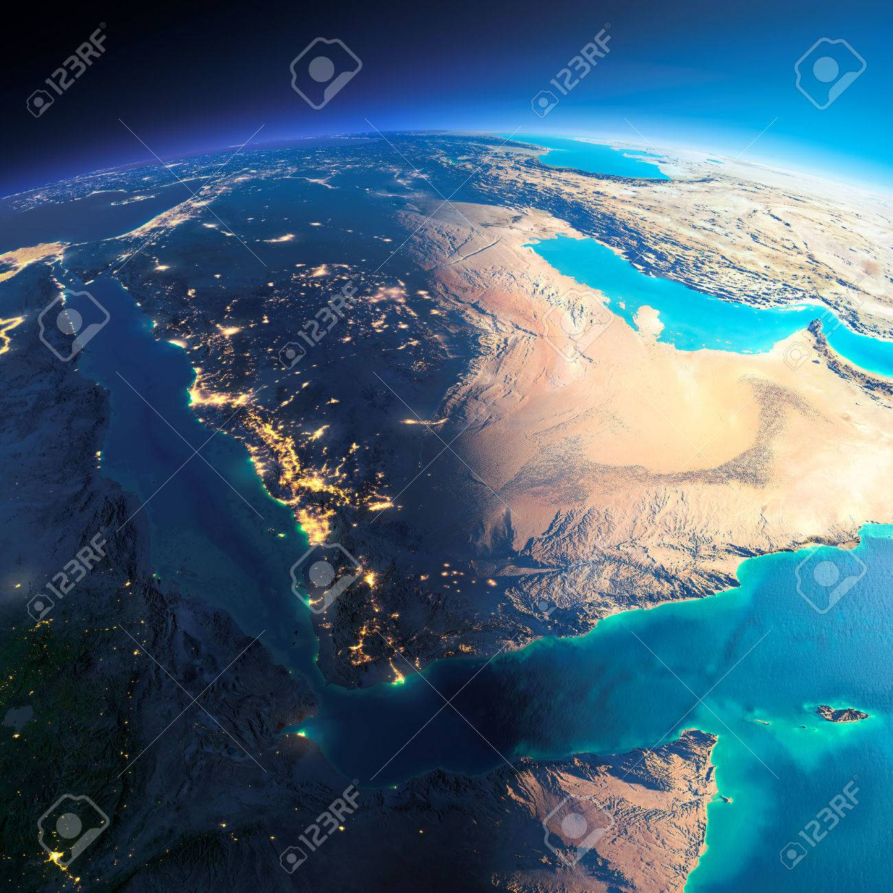 Highly detailed planet Earth. Night with glowing city lights gives way to day. The boundary of the night & day. Saudi Arabia. Elements of this image furnished by NASA - 39100904