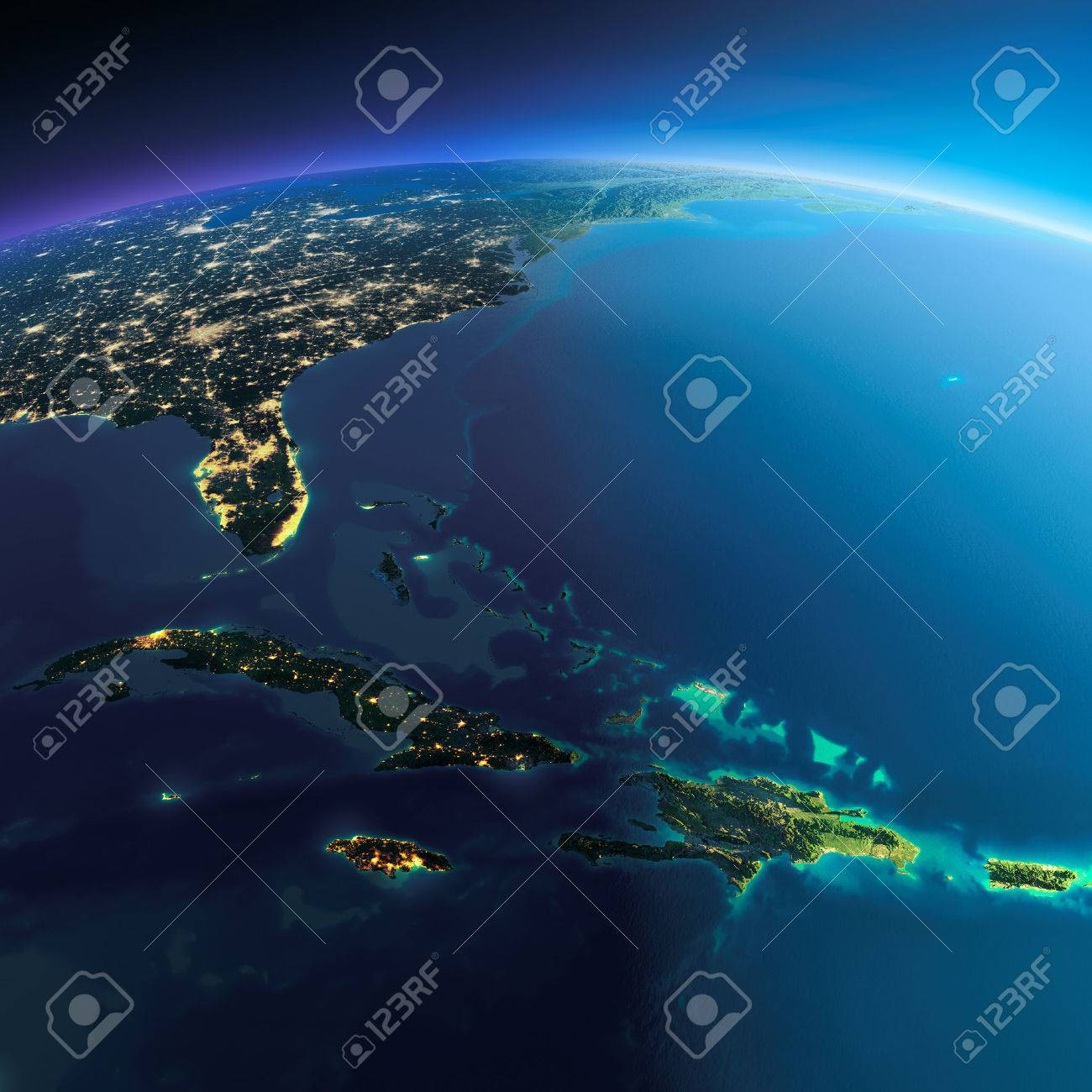 Highly detailed planet Earth. Night with glowing city lights gives way to day. The boundary of the night & day. Caribbean islands. Cuba, Haiti, Jamaica. Elements of this image furnished by NASA - 39100769