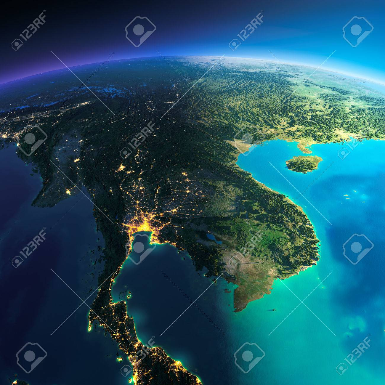 Highly detailed planet Earth. Night with glowing city lights gives way to day. The boundary of the night & day. Indochina peninsula. Elements of this image furnished by NASA - 39100774