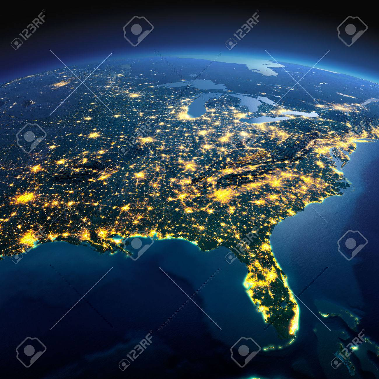 Night planet Earth with precise detailed relief and city lights illuminated by moonlight. North America. USA. Gulf of Mexico and Florida. Elements of this image furnished by NASA - 49133978