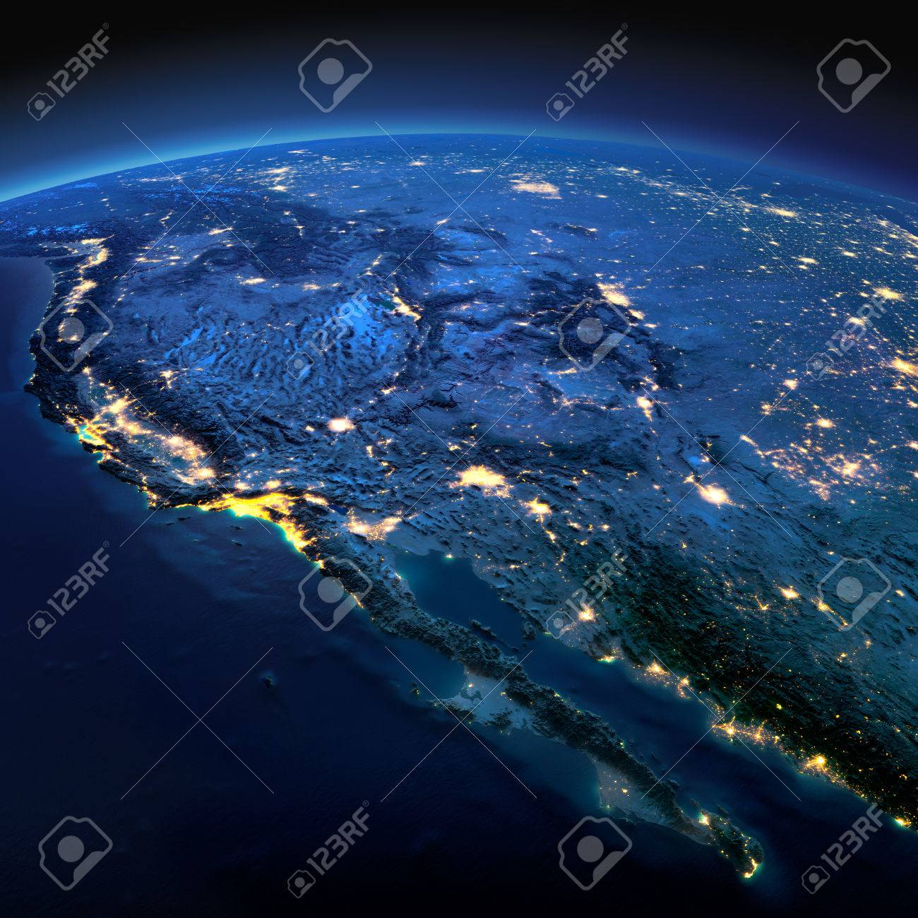 Night planet Earth with precise detailed relief and city lights illuminated by moonlight. Gulf of California, Mexico and the western U.S. states. - 49133985