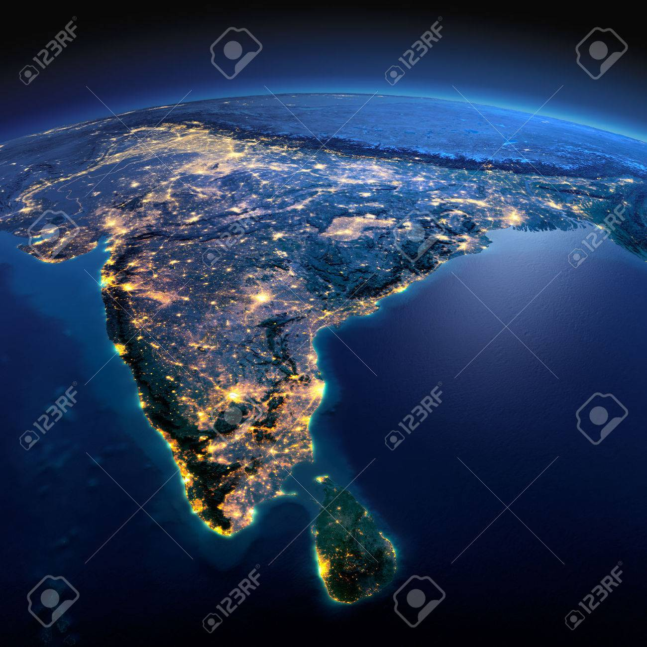 Night planet Earth with precise detailed relief and city lights illuminated by moonlight. India and Sri Lanka. - 50354080