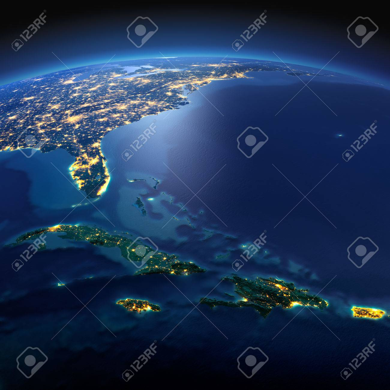Night planet Earth with precise detailed relief and city lights illuminated by moonlight. South America. Caribbean islands. Cuba, Haiti, Jamaica. Elements of this image furnished by NASA - 50372676