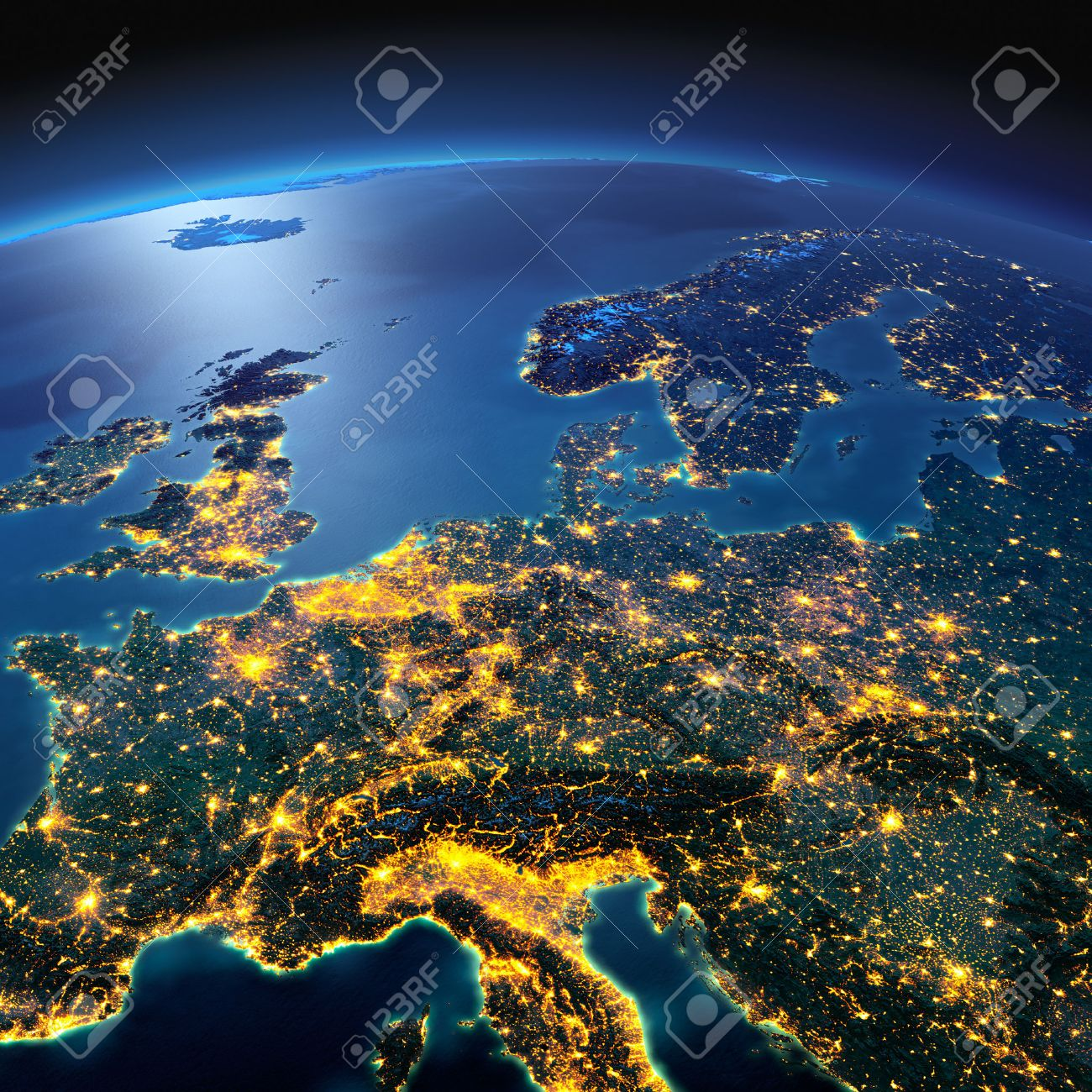 Night planet Earth with precise detailed relief and city lights illuminated by moonlight. Central Europe. Elements of this image furnished by NASA - 50372680