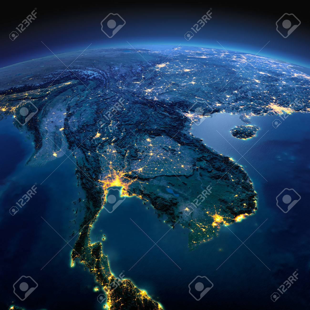 Night planet Earth with precise detailed relief and city lights illuminated by moonlight. Indochina peninsula. Elements of this image furnished by NASA - 50372682