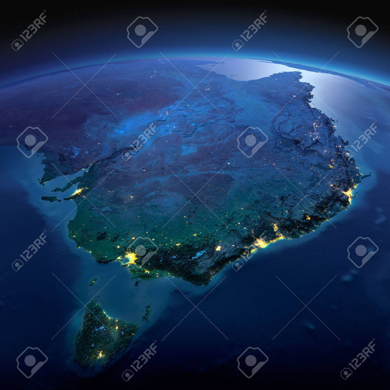 Night planet Earth with precise detailed relief and city lights illuminated by moonlight. Australia and Tasmania. Elements of this image furnished by NASA - 50372686