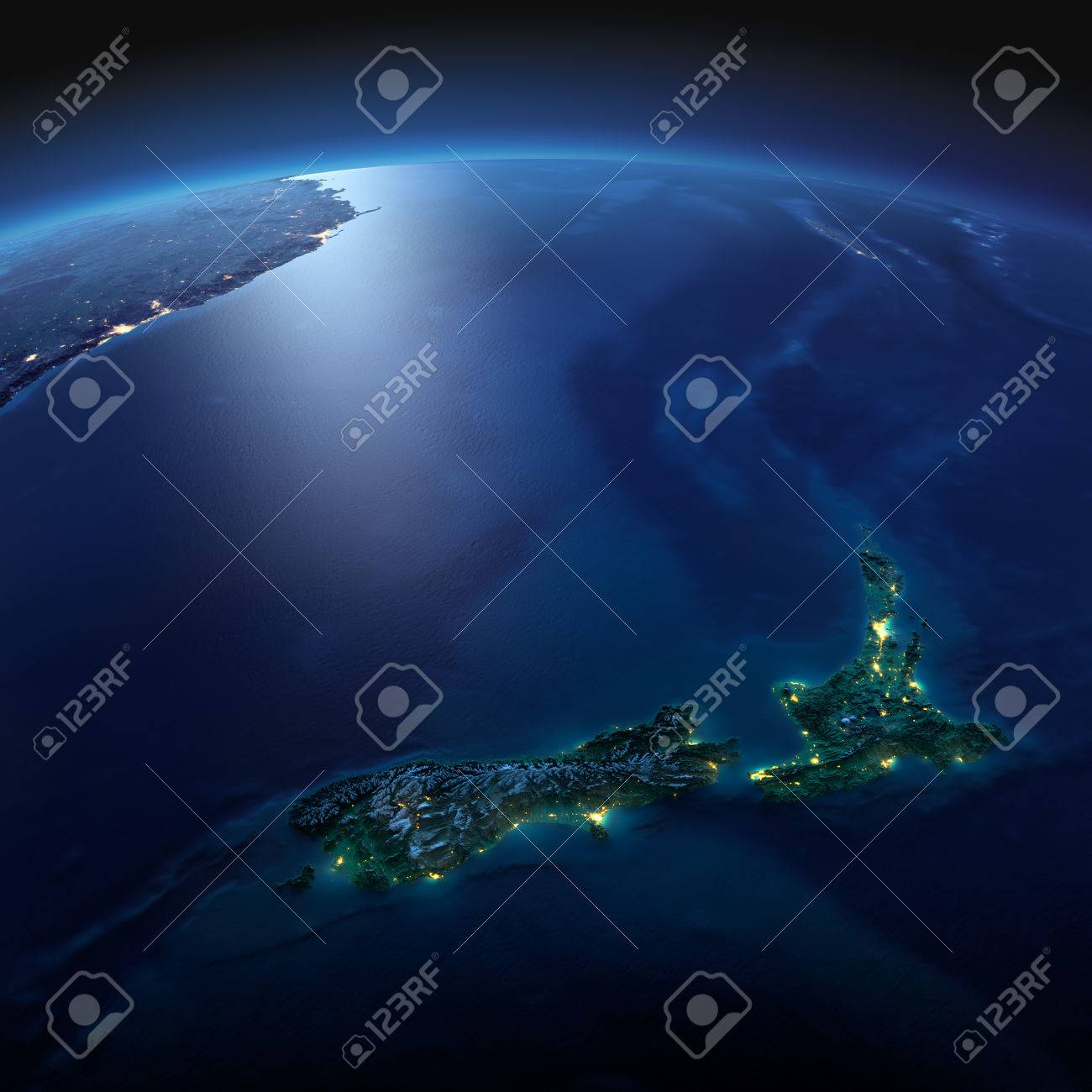 Night planet Earth with precise detailed relief and city lights illuminated by moonlight. New Zealand. Elements of this image furnished by NASA - 50372687