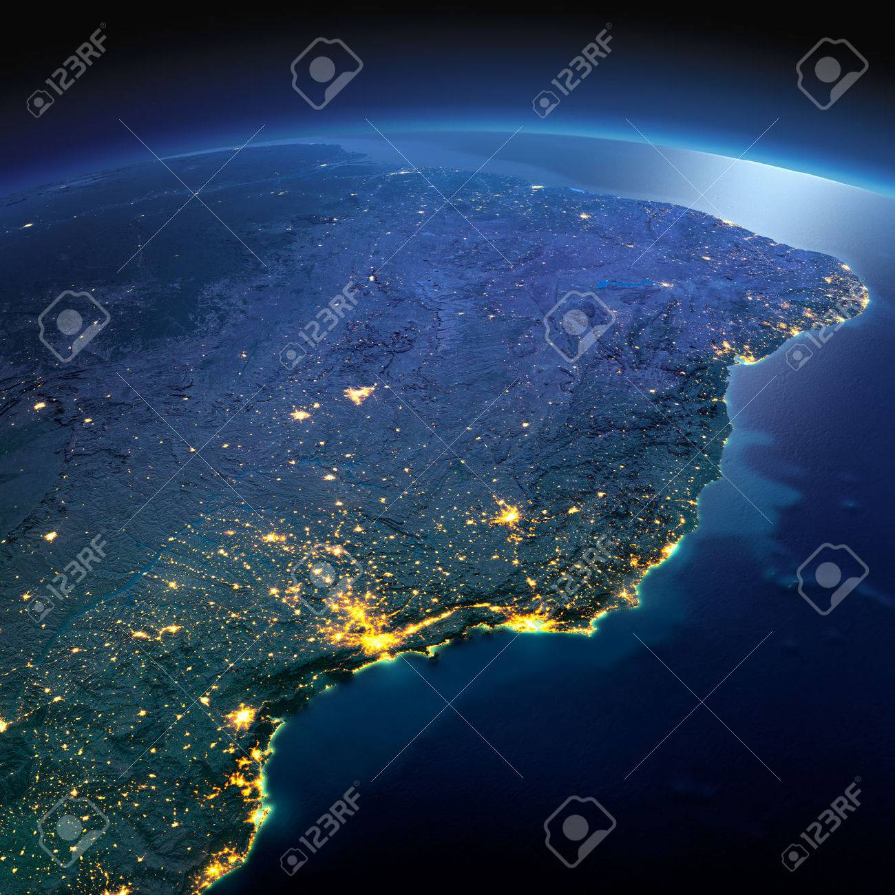 Night planet Earth with precise detailed relief and city lights illuminated by moonlight. South America. East Coast of Brazil. Elements of this image furnished by NASA - 50372696