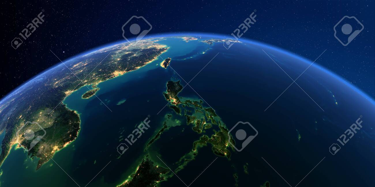 Planet Earth with detailed exaggerated relief at night lit by the lights of cities. Earth. Southeast Asia. Philippines. - 127289394