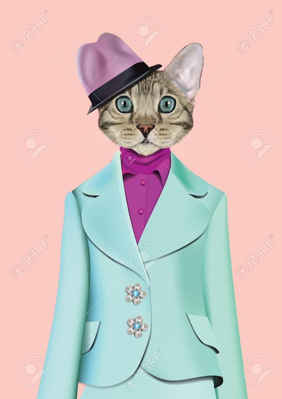 Ilustración Del Vector Del Gato Doméstico En Traje De Color Rosa ...