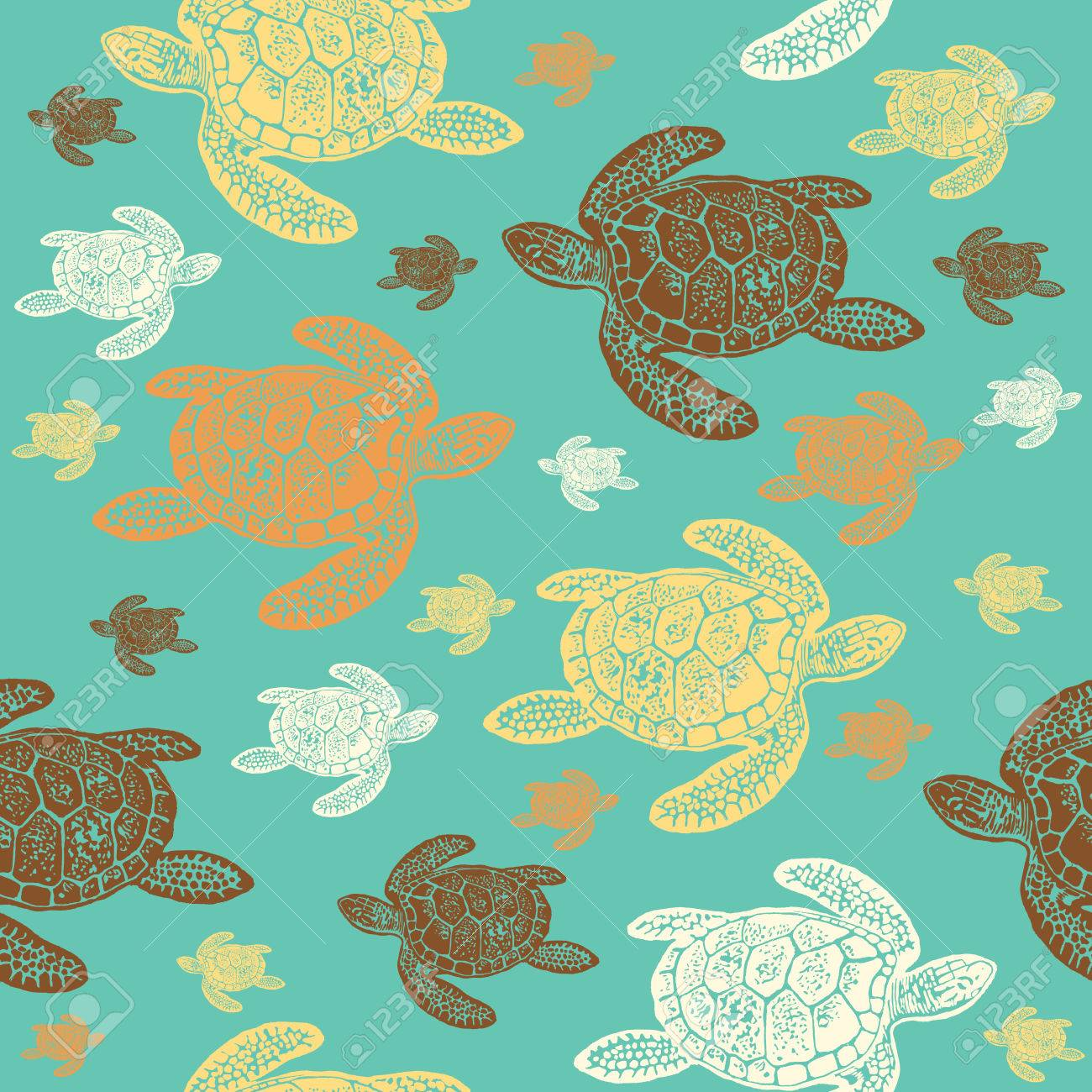 Sea Turtles Pattern Seamless Colore Le Style Realiste Grave Des