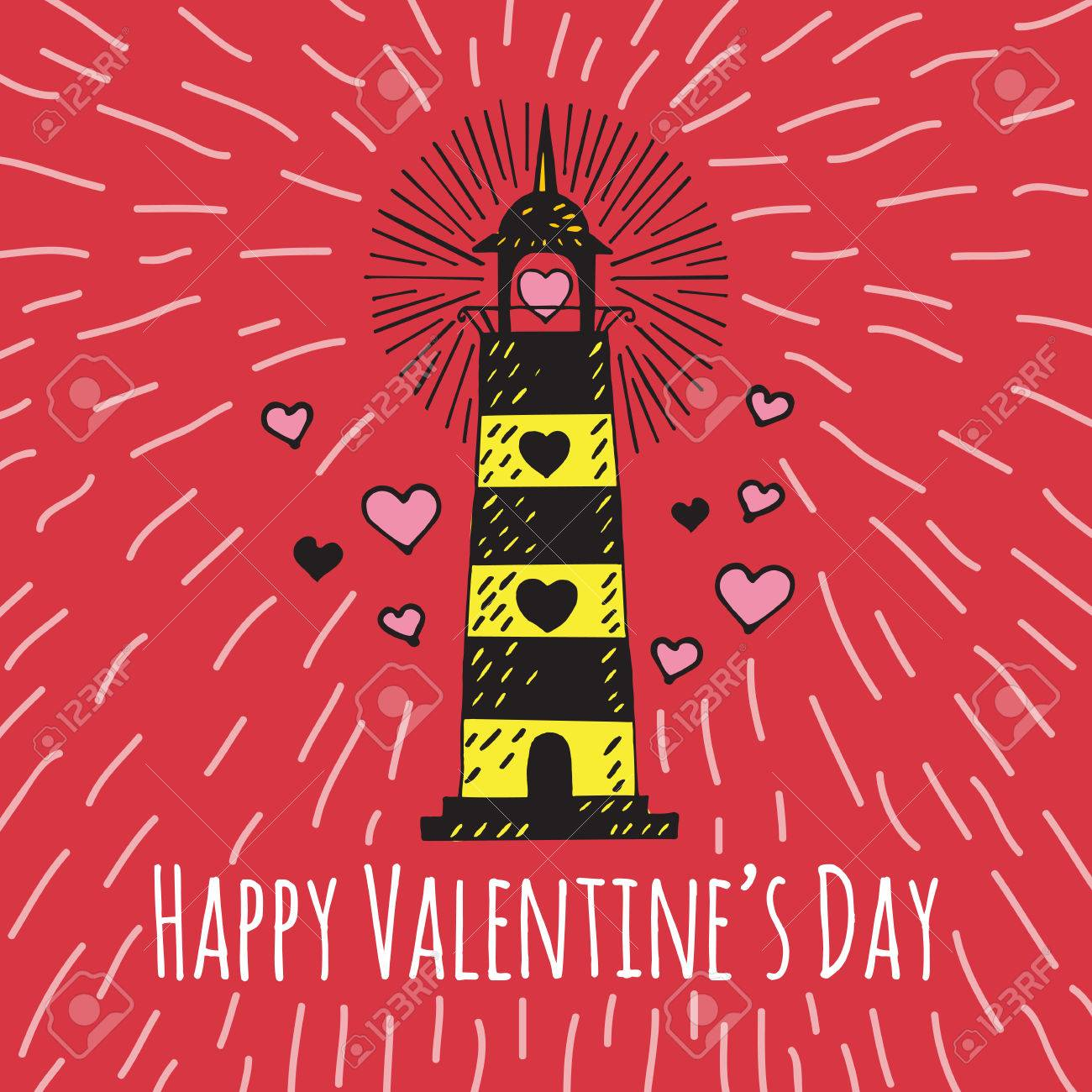 Valentines Day Card With Illustrated Lighthouse Vector Illustrated