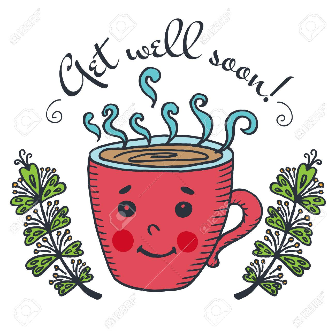 get well soon card with cup of tea vector illustrated card royalty rh 123rf com free animated clipart get well soon
