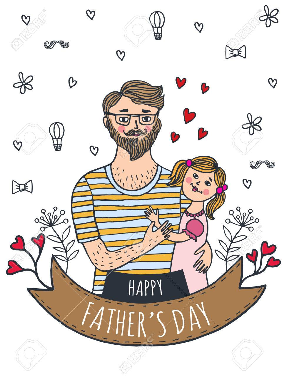 happy fathers day card with dad and daughter vector illustrated card stock vector