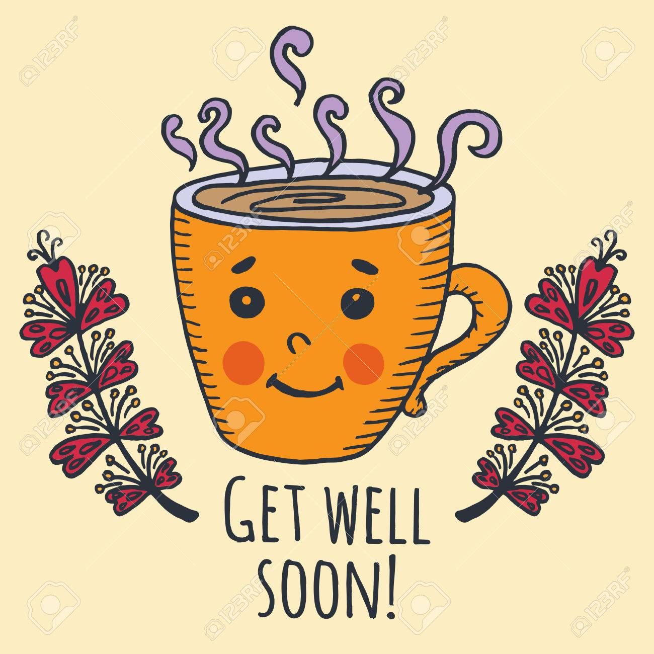 get well soon card with cup of tea vector illustrated card royalty