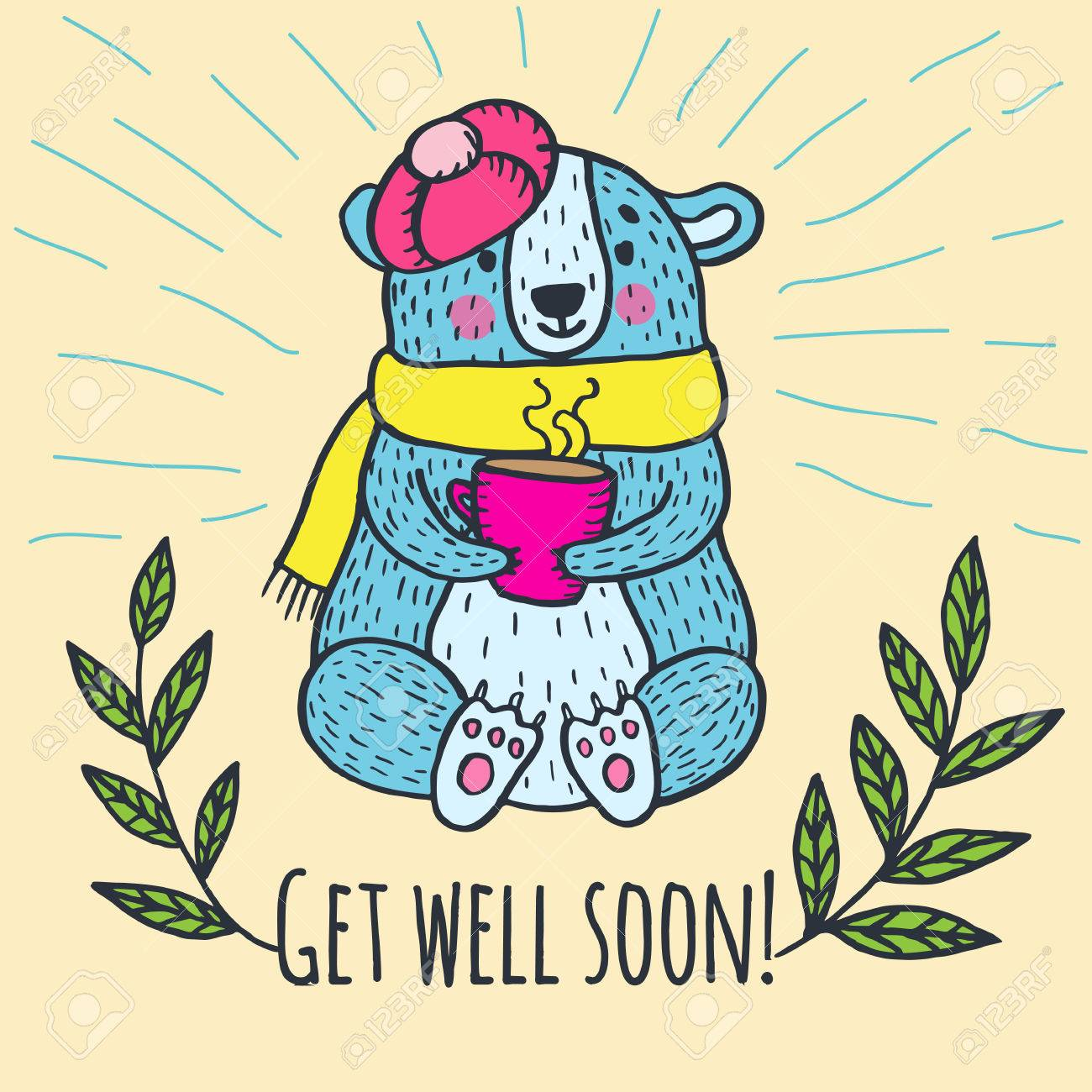 get well soon card with teddy bear vector illustrated card royalty