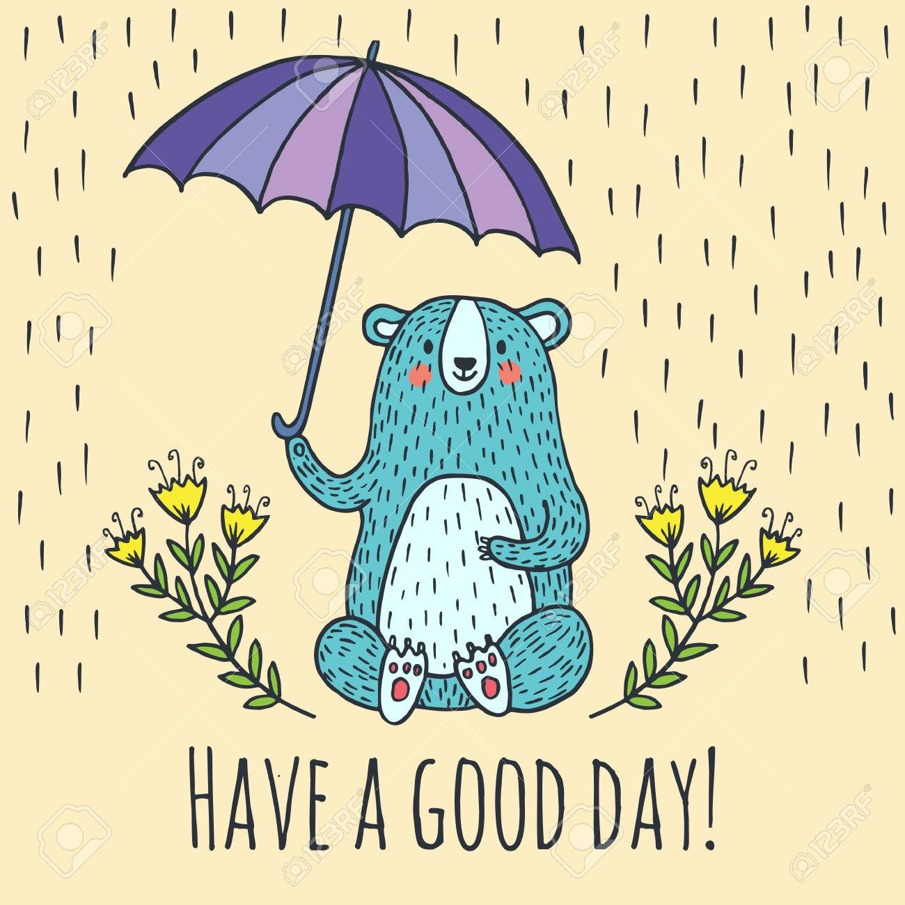 Have a good day greeting card vector illustration card with have a good day greeting card vector illustration card with teddy bear and umbrella stock kristyandbryce Gallery