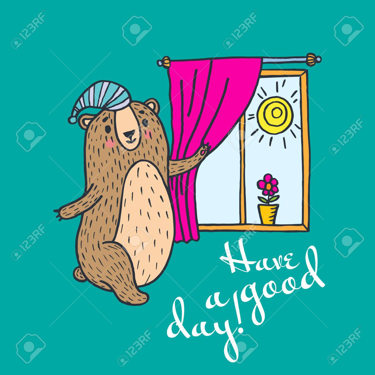 Have a good day greeting card vector illustration card with teddy have a good day greeting card vector illustration card with teddy bear and window banque kristyandbryce Gallery