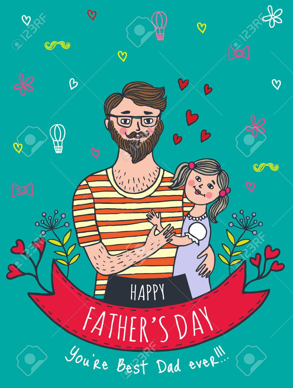 happy father s day card with dad and daughter vector illustrated