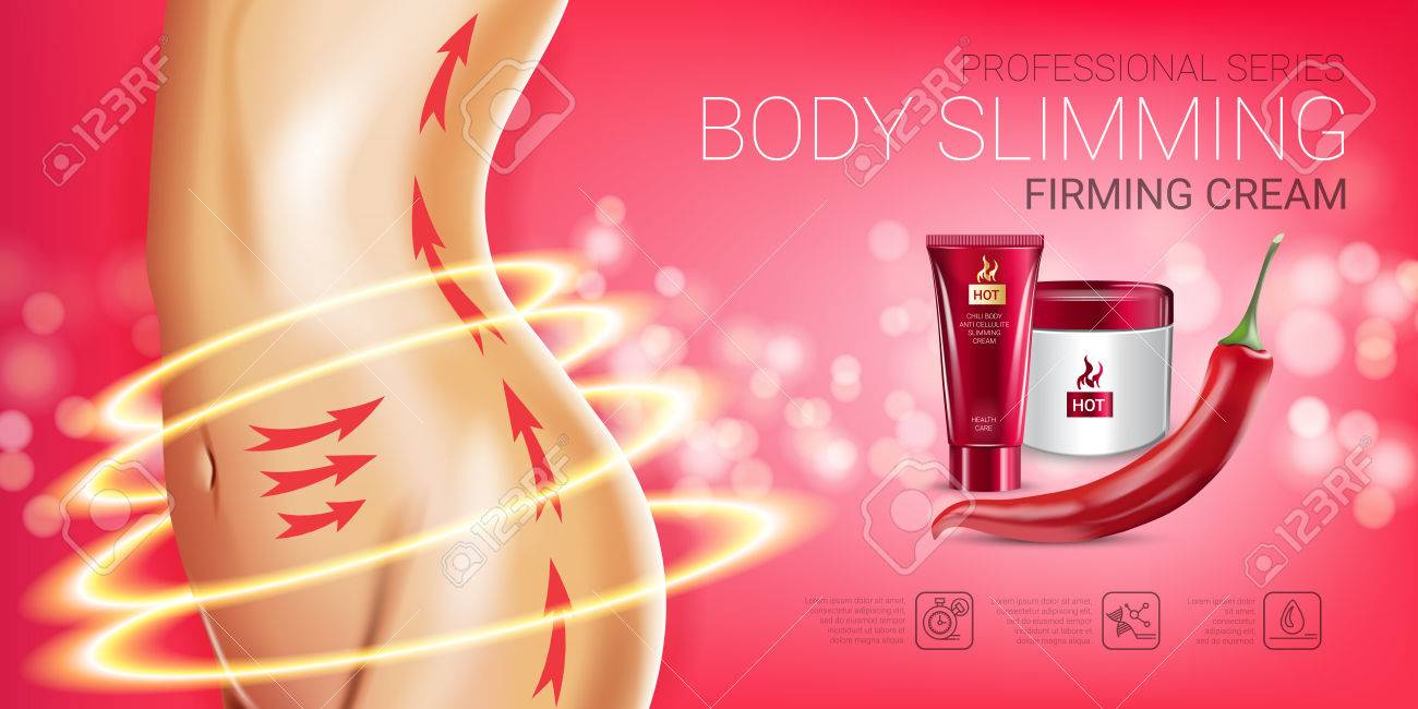 Body skin care series ads. Vector Illustration with chili pepper body slimming firming cream tube and container. Horizontal banner. - 78444122