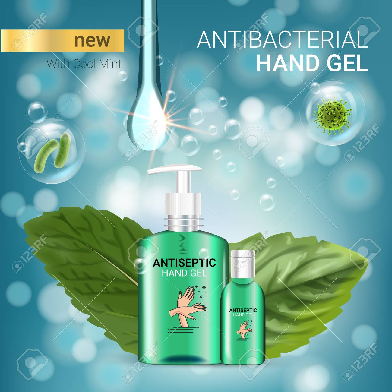 Cool mint flavor Antibacterial hand gel ads. Vector Illustration with antiseptic hand gel in bottles and mint leaves elements. Poster. - 79001009