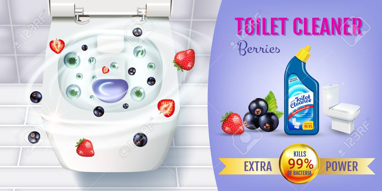 Remarkable Berry Fragrance Toilet Cleaner Gel Ads Vector Realistic Illustration Pdpeps Interior Chair Design Pdpepsorg