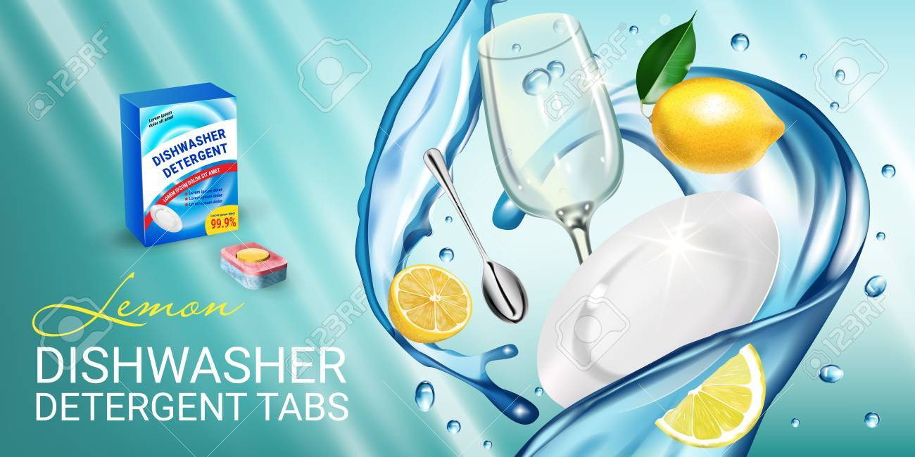 Lemon fragrance dishwasher detergent tabs ads. Vector realistic Illustration with dishes in water splash and citrus fruits. Horizontal banner - 81345155