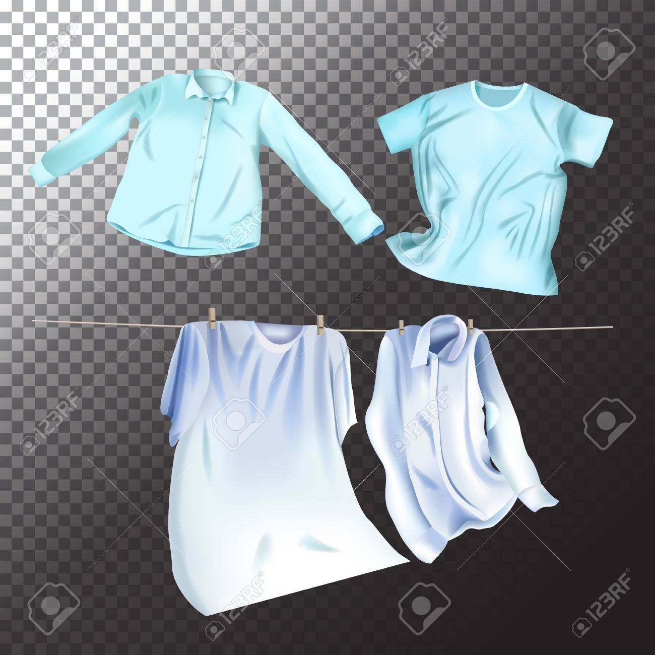 Set of realistic clean laundry clothes. Vector isolated clothes objects on transparent background - 81232352