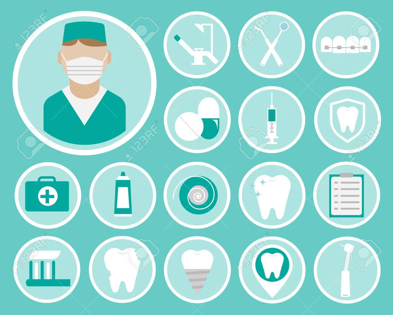 Dentaires Icones Vectorielles Plats Pour Votre Site Web Cartes De