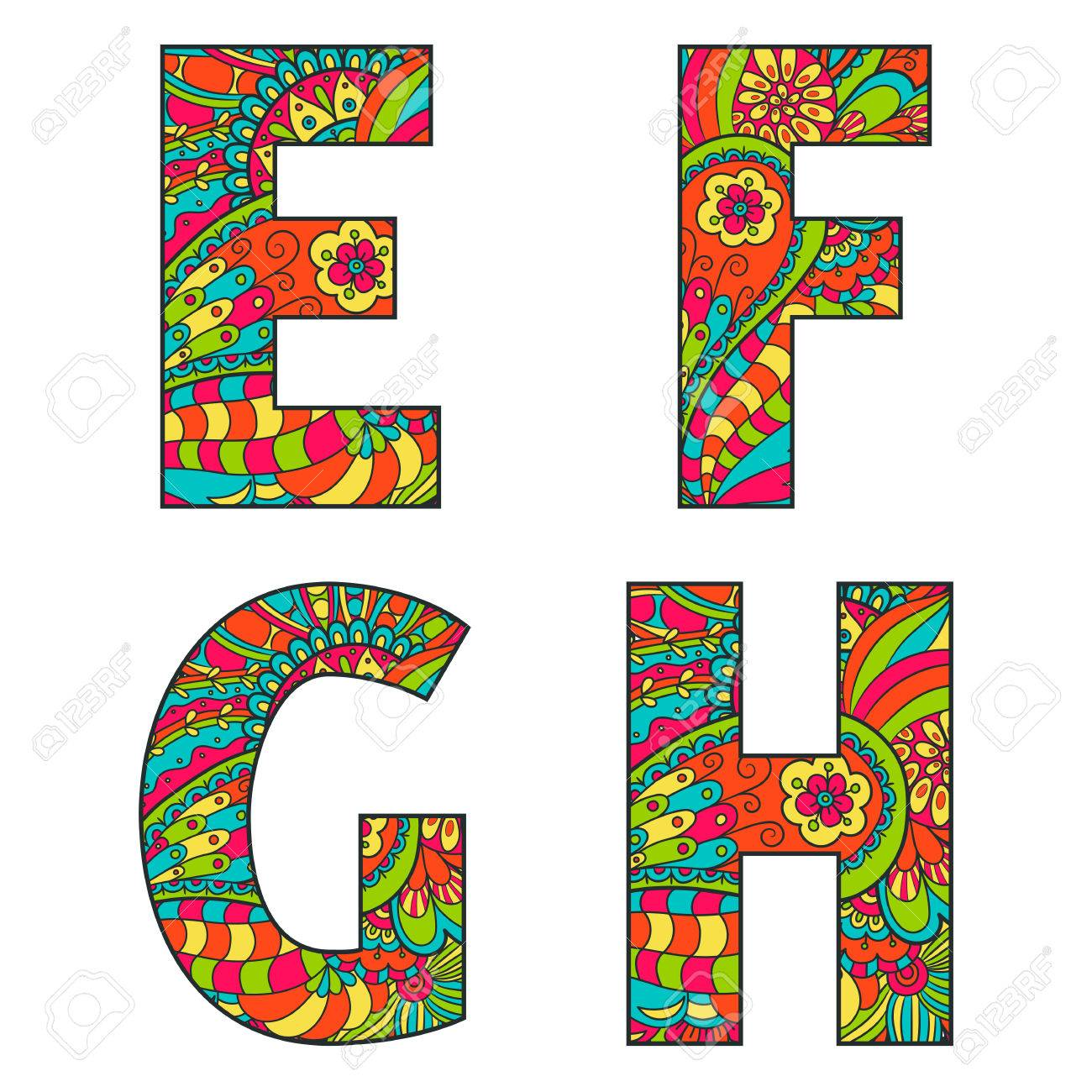 Set of vector big letters with a bright pattern doodle  Letter