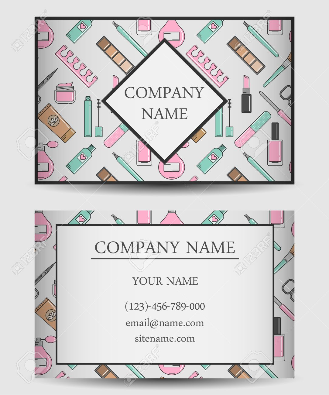 Vector Business Card Template For Beauty Salon. Flat Design ...