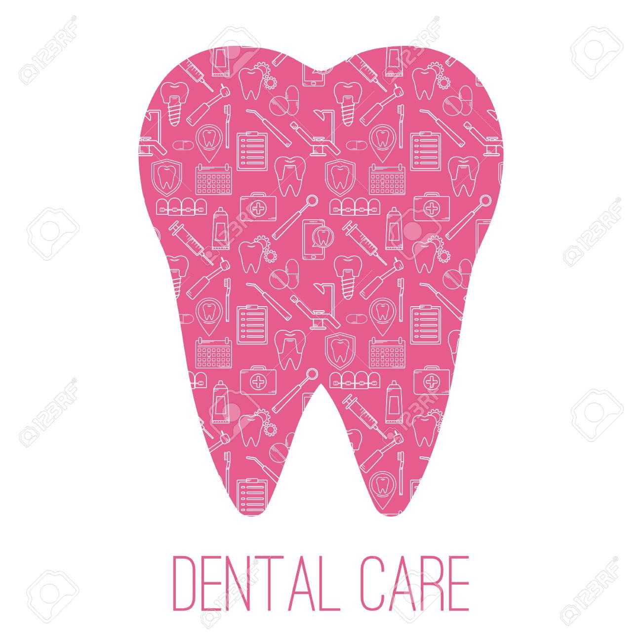 Símbolos De Cuidado Dental En Forma De Dientes. Plantilla De Diseño ...