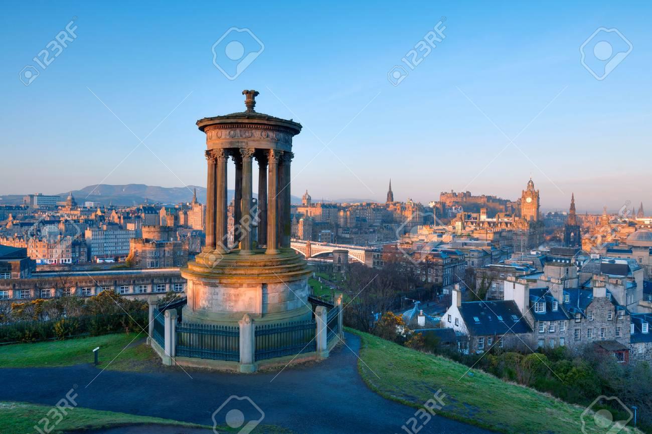 Sunrise View Across The City Of Edinburgh From Calton Hill Stock