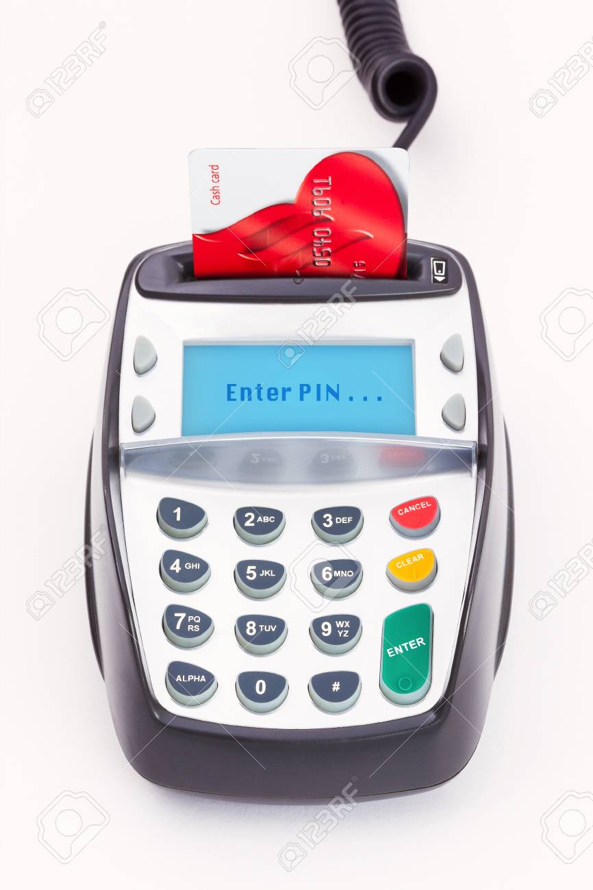 machine a carte bleu Bank Card In A Chip And PIN Machine Stock Photo, Picture And