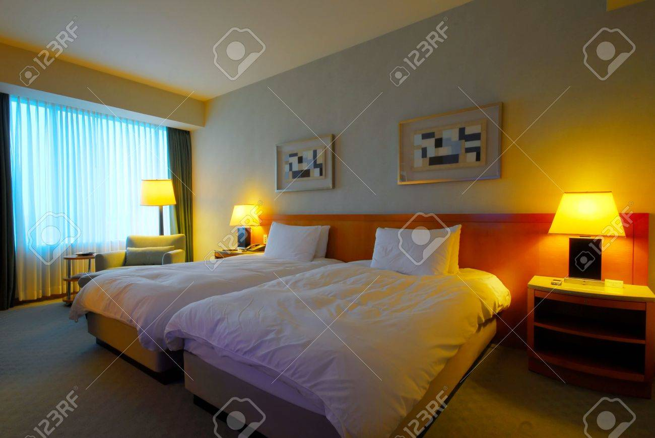 interior of a modern hotel room stock photo, picture and royalty