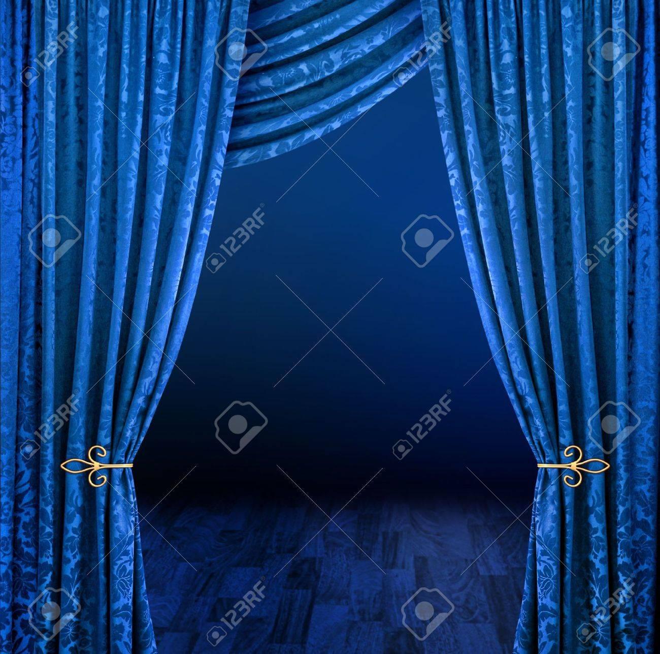 Blauwe Gordijnen Framing Mysterieuze Donkere Stadium Scène Royalty ...