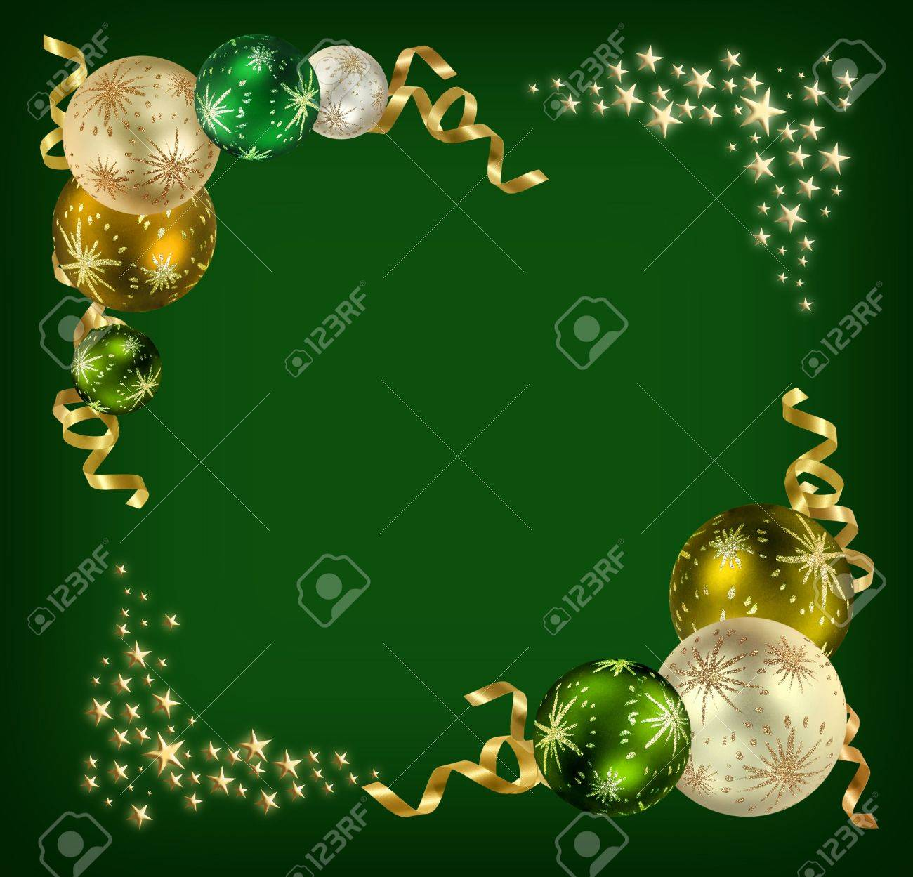 Christmas Feeling Background With Green Silver And Golden Balls Surrounded By Ribbons Stars