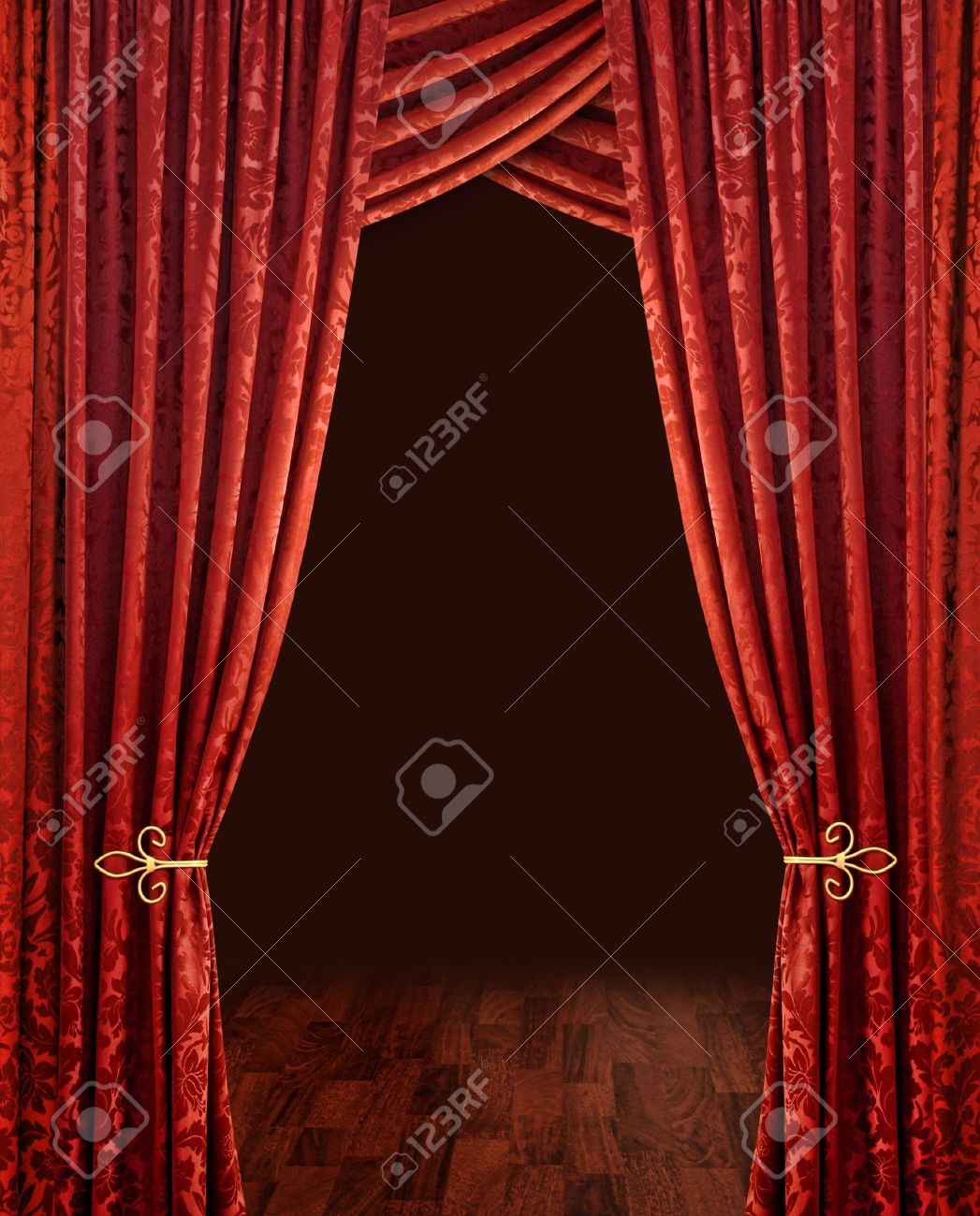 Stage curtain background open stage curtains background red stage - Red Theatre Stage Curtains Brown Wooden Floor And Dark Background Stock Photo 5545958