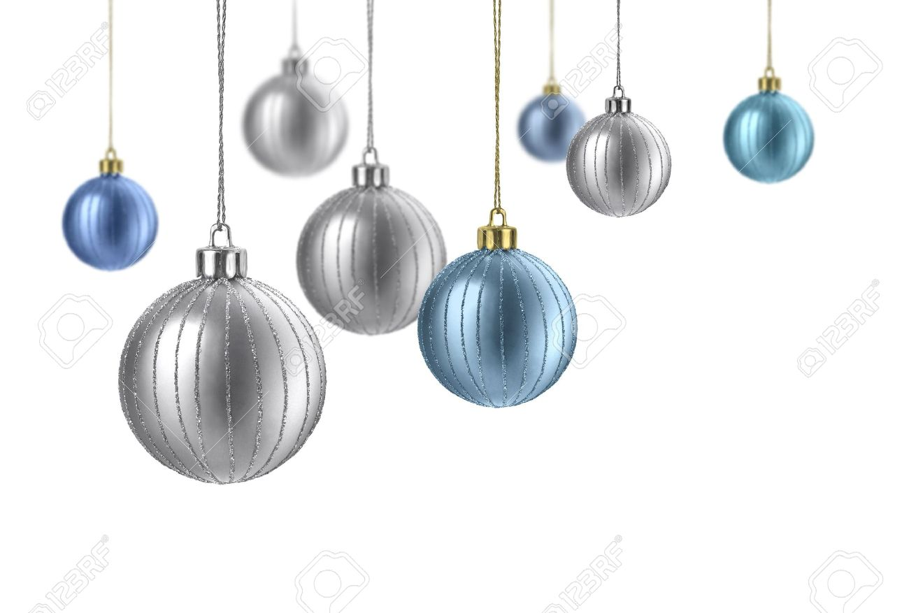 Silver And Blue Matte Christmas Decoration Balls Hanging On White Background Stock Photo