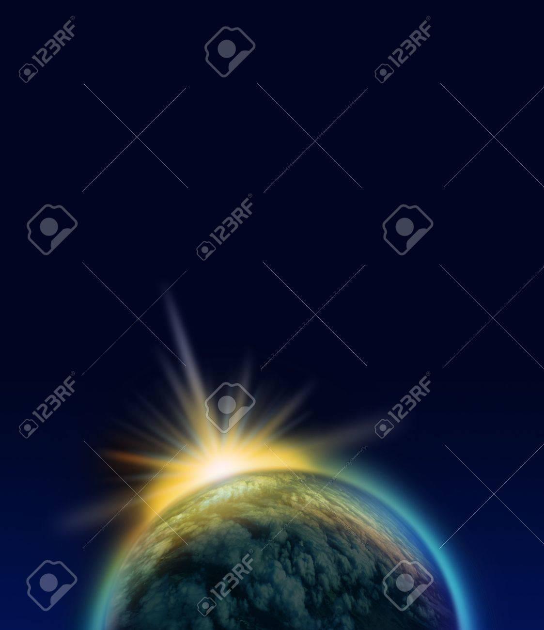 Shining Blue Planet And Bright Light Phenomenon On Dark Space Background Stock Photo