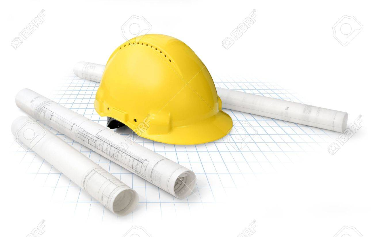 Construction Drawing Blueprints And Yellow Hard Hat Isolated Stock Photo