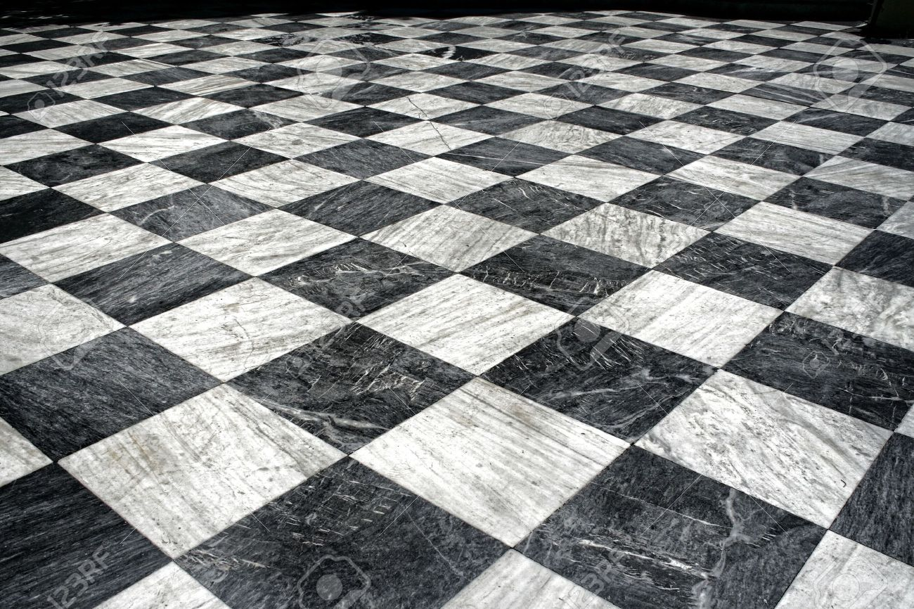 Marble Floor Pattern black and white checquered marble floor pattern stock photo